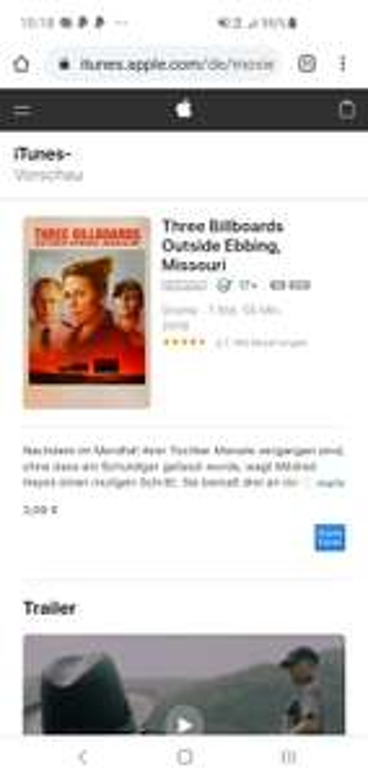 iTunes/ 4K Filme/ z.B: Three Billboards Outside Ebbing, Missouri