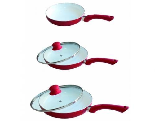 Ceramic Keramik Pfannen Set, 5-teilig, rot 34,99€ versandkostenfrei