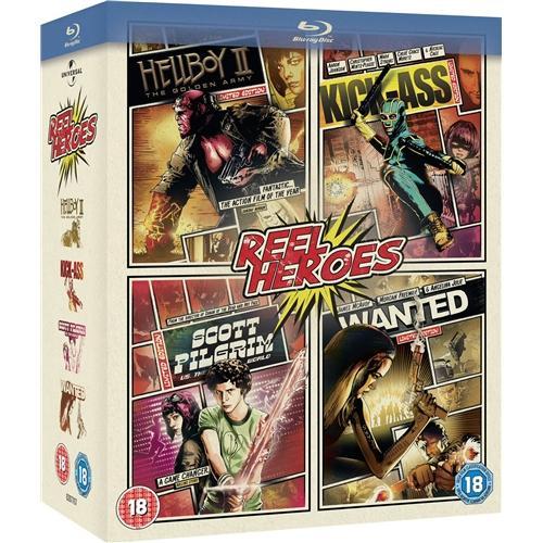 (UK) Reel Heroes Box Set: Wanted (2008) / KickAss / Scott Pilgrim Vs. The World / Hellboy 2 Box Set (4 Discs) (Blu-ray) für 11.49€ @ play