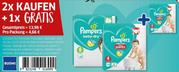 Pampers 2x KAUFEN + 1x GRATIS gilt für Baby-Dry & Pants jedoch nicht für Premium Protection