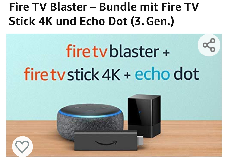 Amazon - Fire TV Blaster – Bundle mit Fire TV Stick 4K und Echo Dot (3.Gen.)