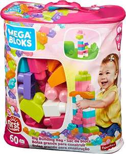 (AMAZON PRIME) Mega Bloks DCH54 - Bausteinebeutel Medium mit 60 Bausteine, pinkfarben bzw. Grundfarben