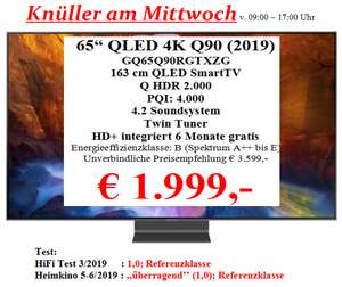 [Lokal Hunsrück/Beltheim] Samsung QLED 65 Zoll Q90R - GQ65Q90RGTXZG