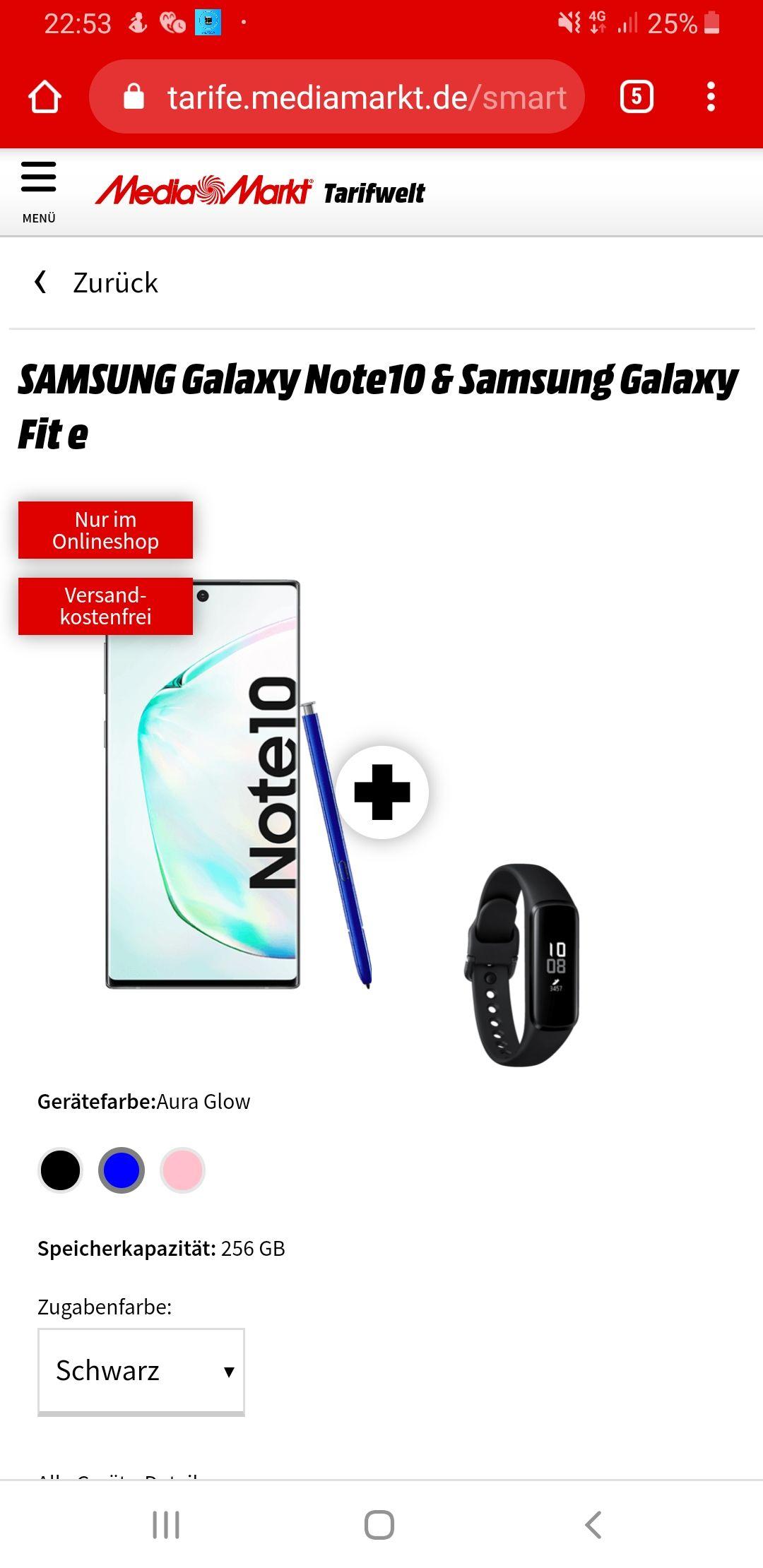 Samsung Galaxy Note 10 & Samsung Galaxy Fit E Telekom Vertrag 8 GB