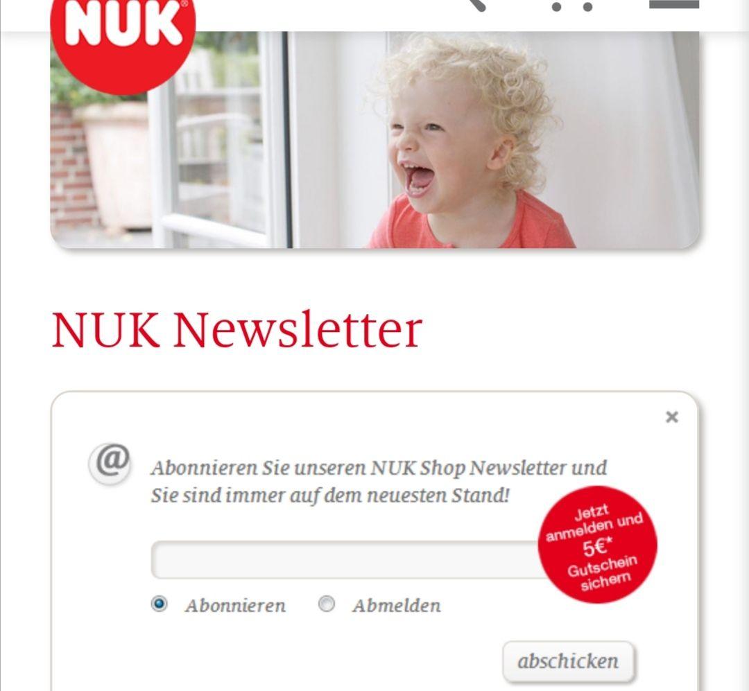NUK Newsletter 5 € Gutschein Mindestbestellwert 20 Euro
