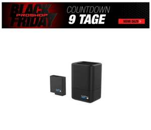 GoPro Dual Battery Charger + Battery (HERO7 Black/HERO6 Black/HERO5 Black) Powerbank (Akku) - schwarz - 1220 mAh
