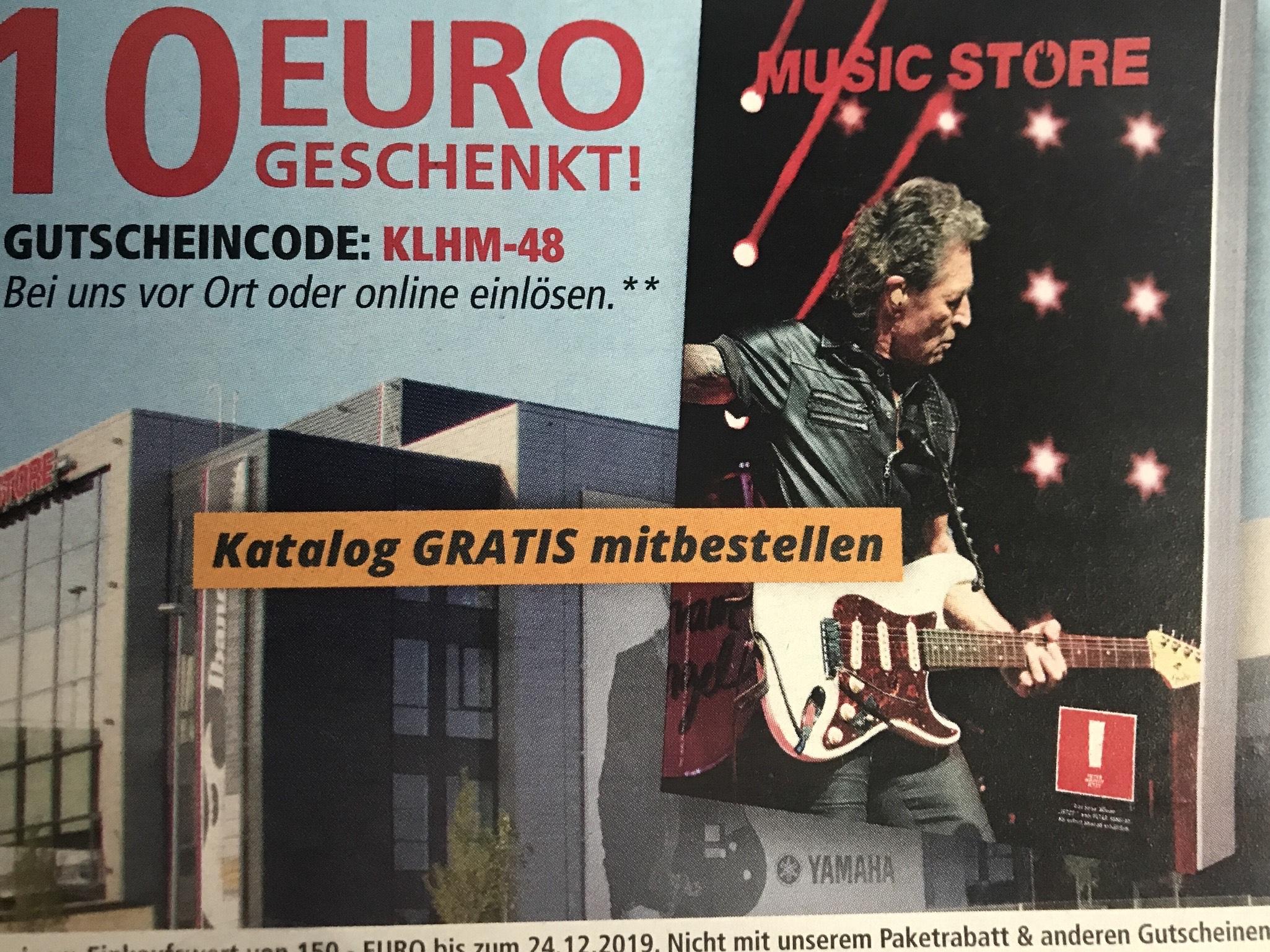 10€ ab 150€ Einkaufswert bei Music Store