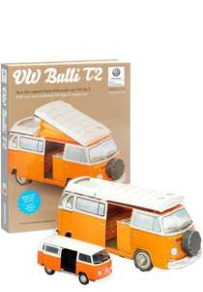 VW Bulli T2 Kartonbausatz plus Modellauto und Hardcoverbuch (offiziell von VW lizensiert)