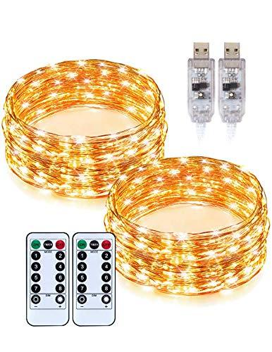 Zweimal 10m LED-Lichterkette TaoTronics TT-SL212 mit USB-Betrieb und Fernbedienung (warmweiß, 8 Lichtmodi, 15 Stufen, Timer, IP65)