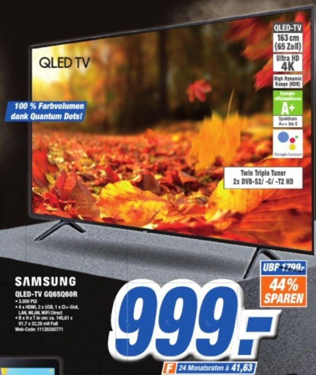 [Lokal Ibbenbüren] Samsung Q60R 163 cm (65 Zoll) 4K QLED Fernseher (Q HDR, Ultra HD, HDR, Twin Tuner, Smart TV) [Modelljahr 2019]