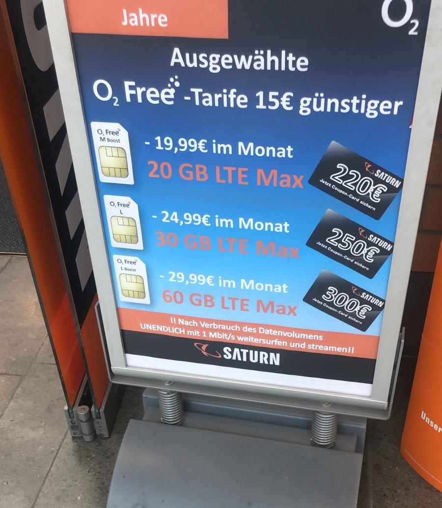 [Saturn Esslingen] O2 Free M 20GB LTE für 19,99€ / Monat +220€ Saturn Coupon