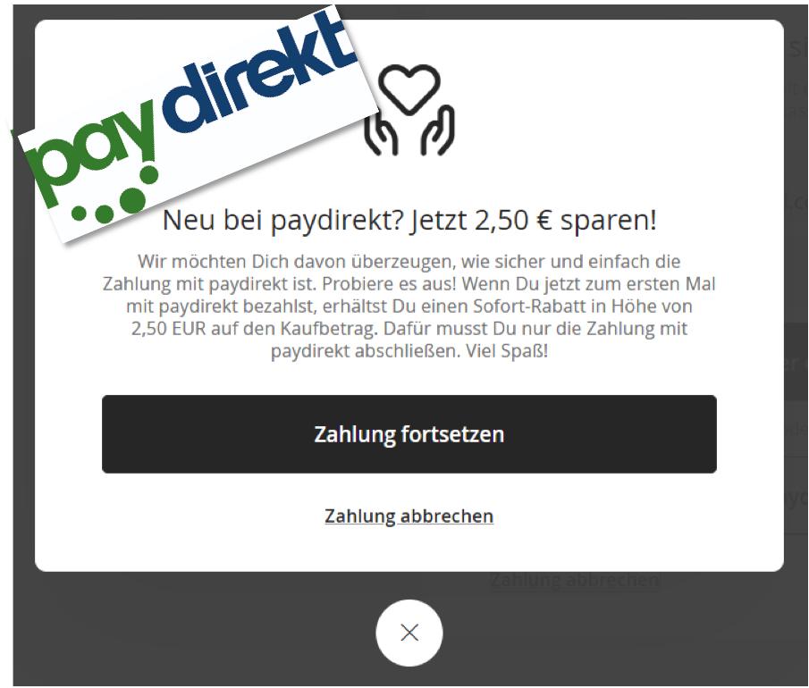 [Für Neukunden] 5€ (zuvor 2,50€) bei erster Zahlung mit paydirekt sparen (kein Mindestbestellwert)