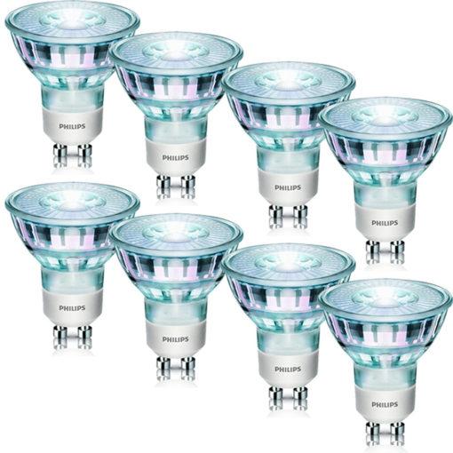 {Dealclub} 8er SET Philips LED classic Lampe ersetzt 50W EEK A+ GU10 warmweiß 345 Lumen LED-Lampe