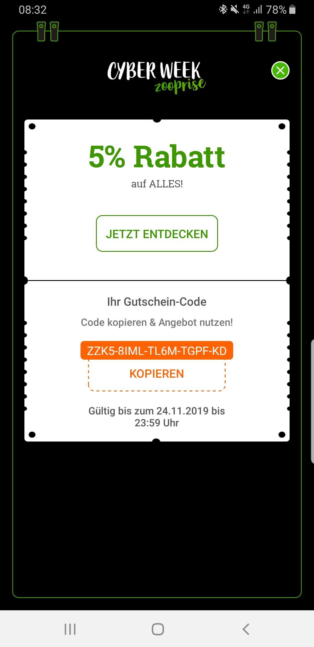 Zooplus 5% Rabatt mit der App cyberweek