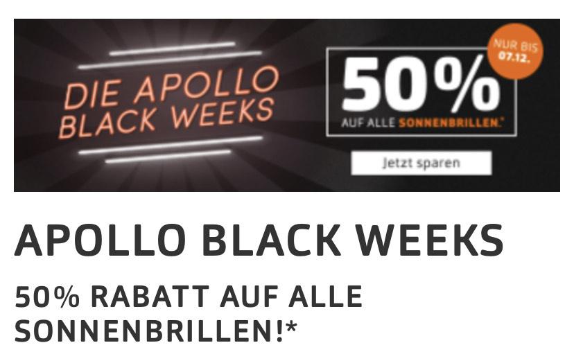 50% auf alle Sonnenbrillen bei Apollo.de - nochmal -10%