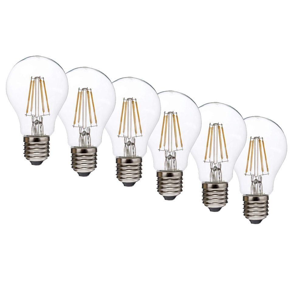 6er SET LED-Lampe Velios filament Retrofit Glühfaden-LED A60 E27 6,5W 810 Lumen warmweiß Glühbirne Glühlampe