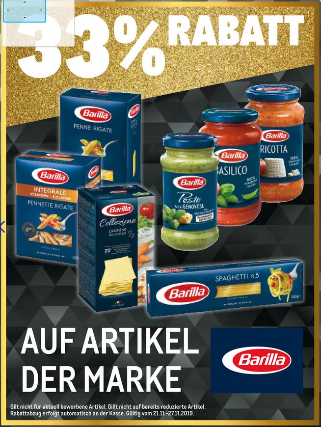 [METRO] 33% auf alle Produkte von Barilla