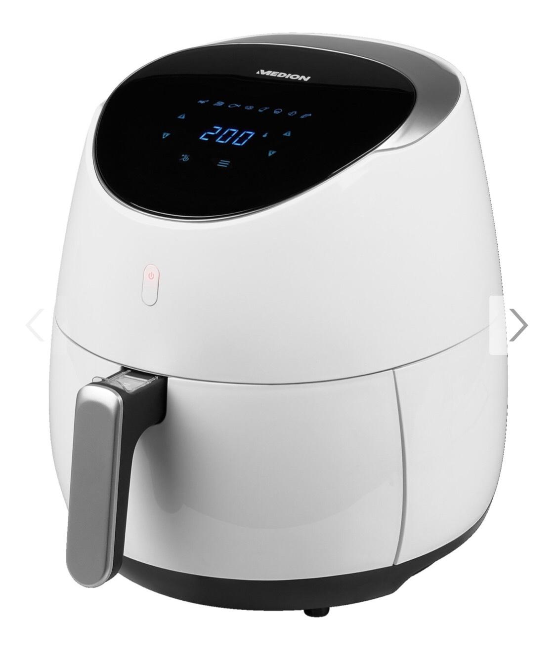 MEDION® XXL Heißluftfritteuse MD 18290, 4,5 L Fassungsvermögen, 2.000W Leistung, benötigt kaum Öl, 8 Automatikprogramme