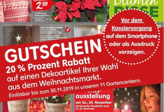 20% auf Dekoartikel bei Blumen Risse Gartencentern