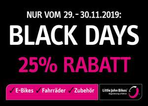 [Lokal/offline - Little John Bikes] Black Days 25% Rabatt auf UVP am 29.11 - 30.11.2019