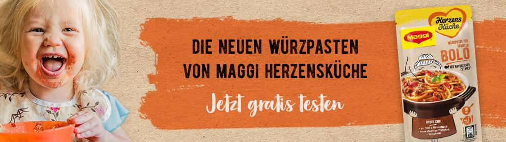 2x gratis Maggi Herzensküche Würzpaste Bolognese und Pilz-Rahm garantiert für die ersten 12.000 Registrierungen