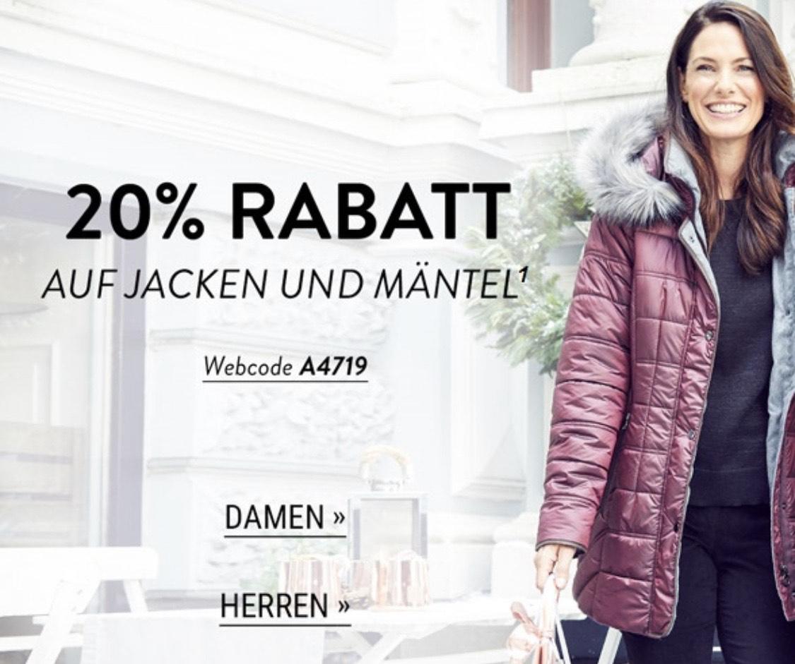 20% Rabatt auf Jacken und Mäntel bei Adler (ohne Mindestbestellwert)
