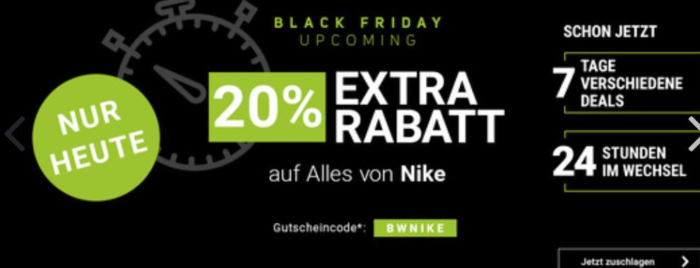 Jogging Point gibt 20% extra Rabatt auf ALLES von Nike nur heute!