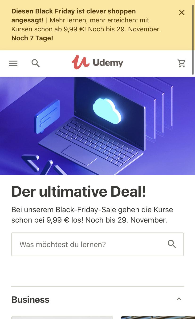Black Friday: Alle Udemy Kurse für nur 9,99€