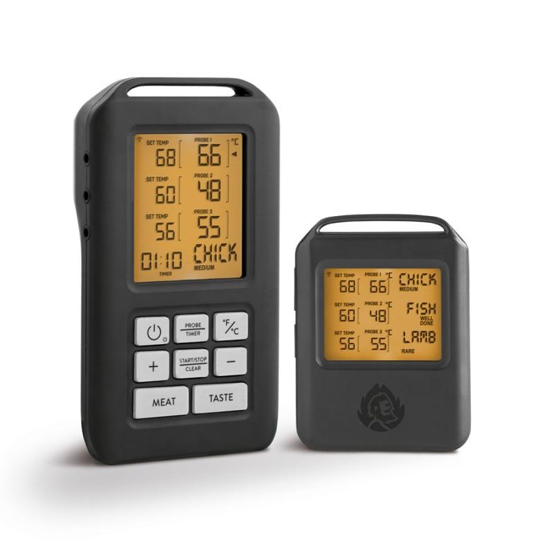 BURNHARD Funk Grillthermometer, Digital Braten-Thermometer für Grill & Backofen, 4 Temperaturfühler