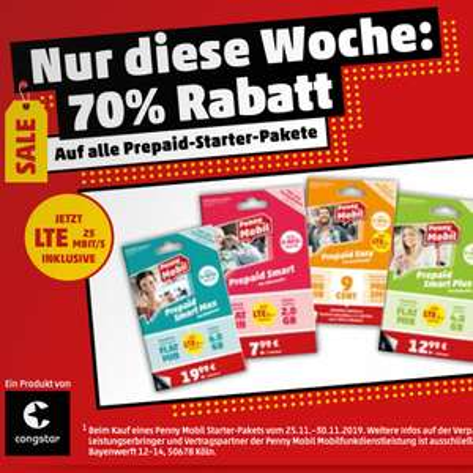 [Penny] 70% Rabatt auf alle Penny Mobil Prepaid Starter-Pakete (Telekom-Netz mit LTE 25)