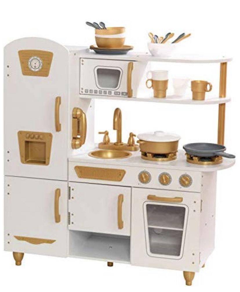 KidKraft Retro Küche in gold weißen Akzenten