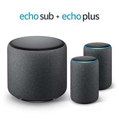 [AMAZON] Echo Plus Stereo-System - 2 Echo Plus-Geräte (2. Gen.), Anthrazit Stoff + 1 Echo Sub