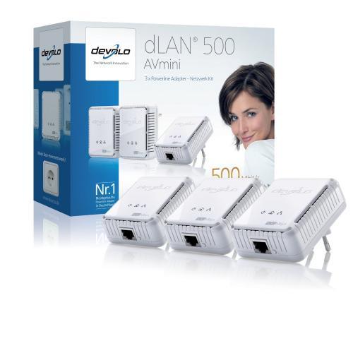 Devolo dLAN 500 AVmini Netzwerk Kit (3x HomePlug AV-Adapter, Netzwerk aus der Steckdose) (@Amazon)