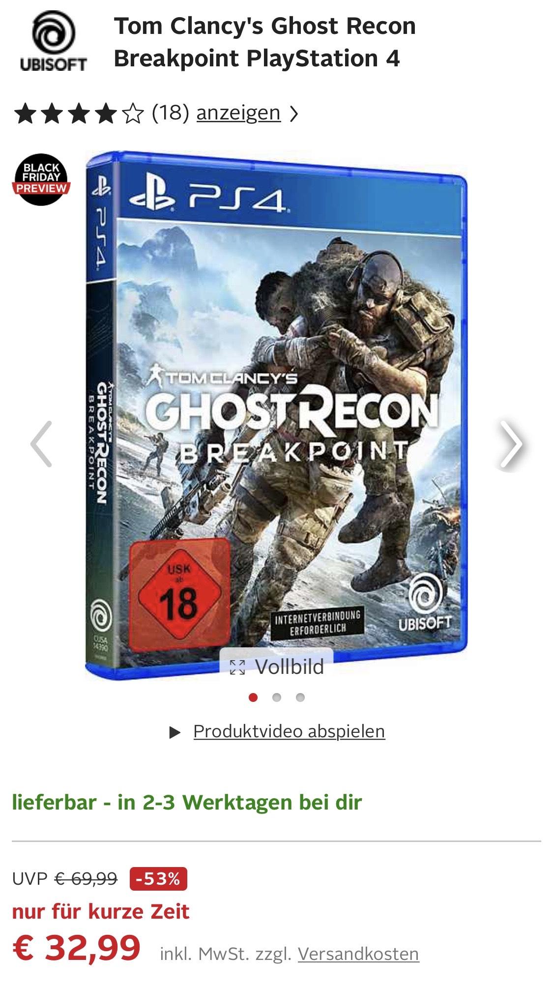 Ghost Recon: Breakpoint (PS4/XBOX) als Neukunde für 16,34 € bzw. 32,99 € als Bestandskunde