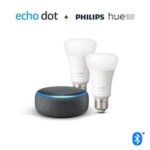Echo Dot (3. Gen.), Anthrazit Stoff + Philips Hue White LED-Lampe (E27) Doppelpack ... und andere Bundles