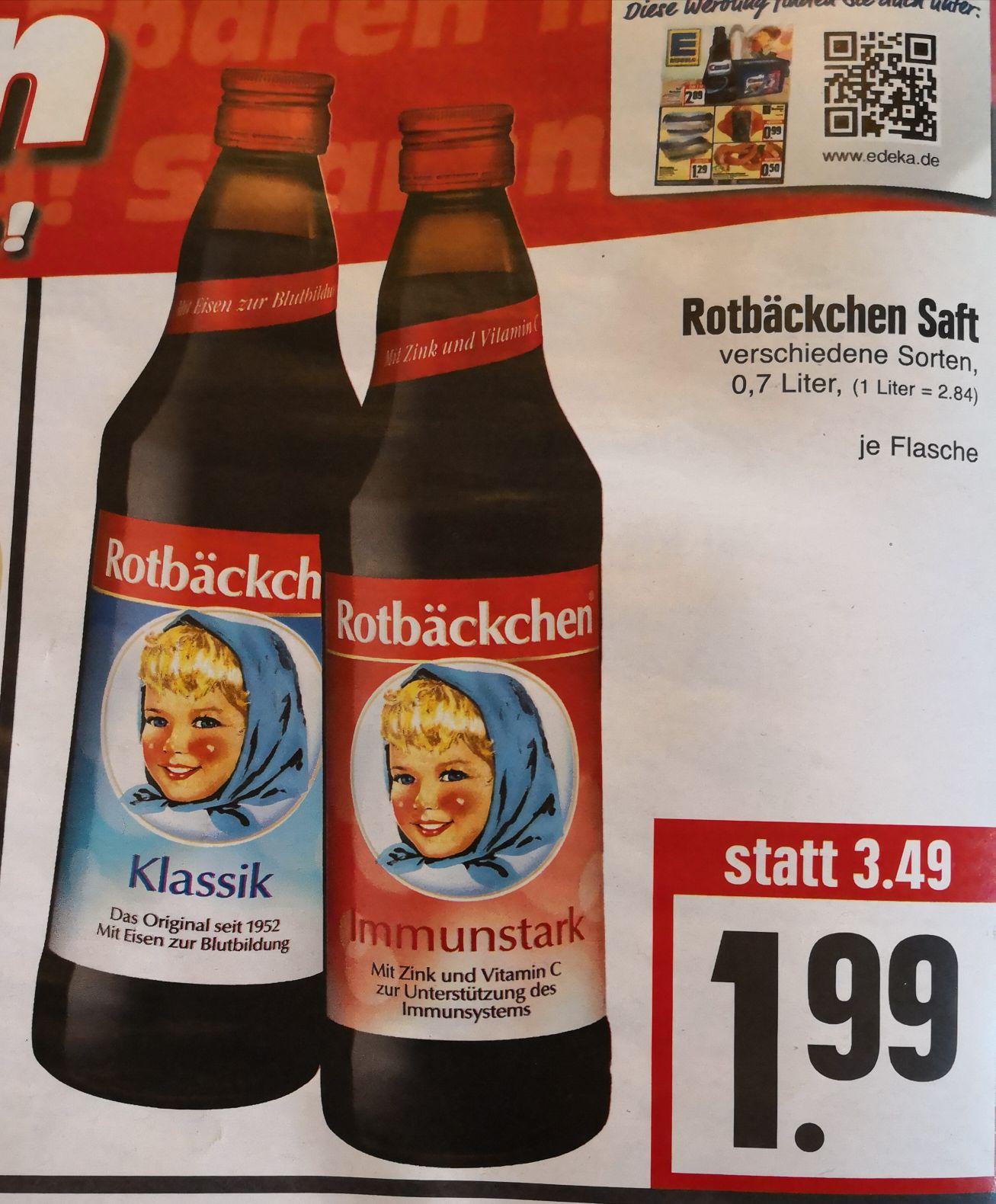 [EDEKA Hessenring] Rotbäckchen Saft verschiedene Sorten 0,7L Flasche