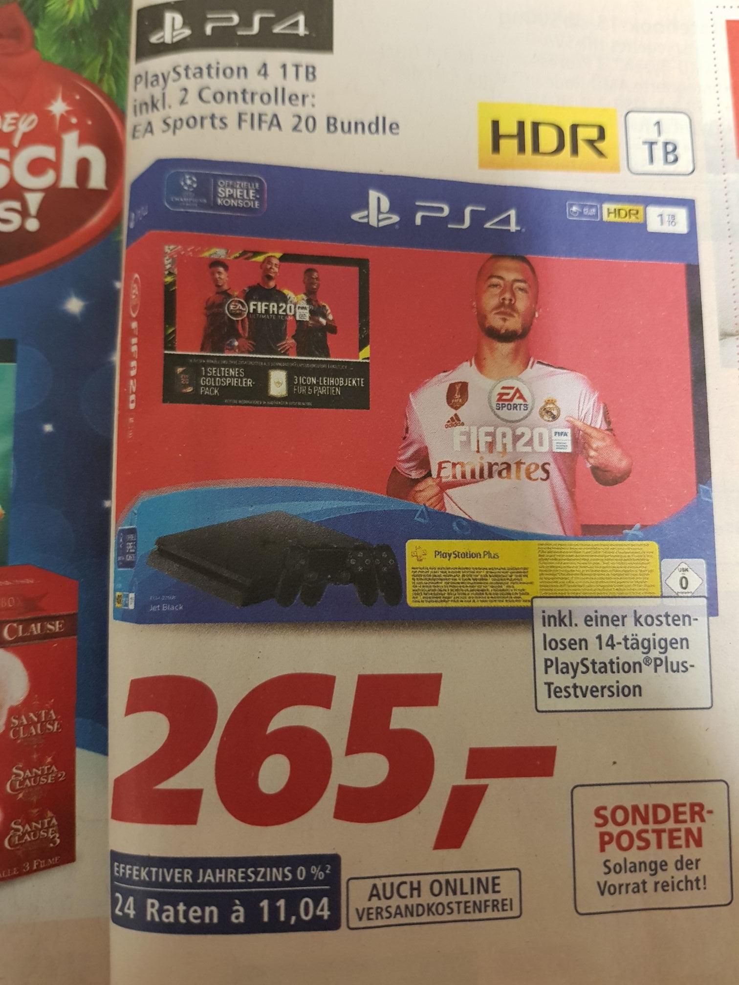 Playstation 4 1TB inkl. 2 Controller + Fifa 20 (Real F&F Rabatt)