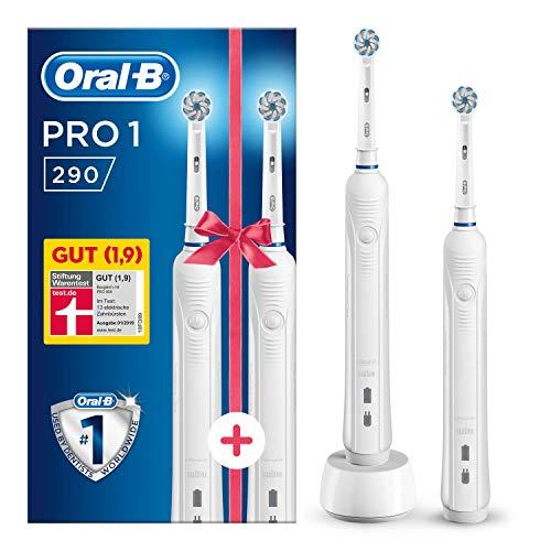 Oral-B PRO 1 290 Elektrische Zahnbürste mit 2. Handstück, weiß