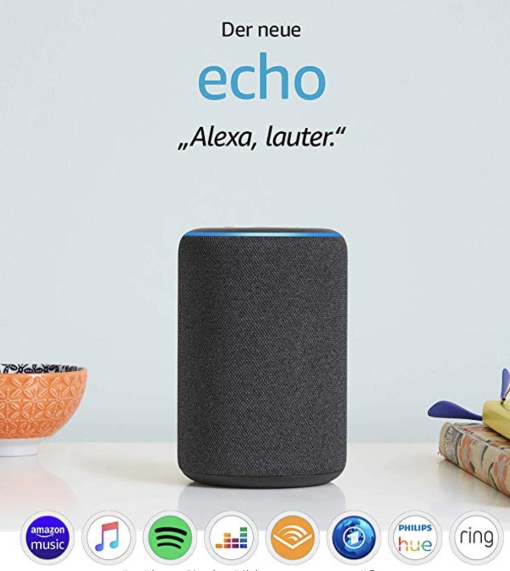 Der neue Amazon Echo 3. Generation 2019 smarter Lautsprecher für 64,99€ inkl. Versandkosten [Amazon/MM/Saturn]