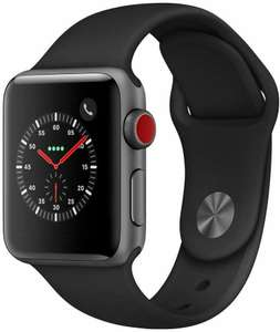 Apple Watch Series 3 (GPS + Cellular) Aluminium 38mm silber mit Sportarmband schwarz (Amazon.it)