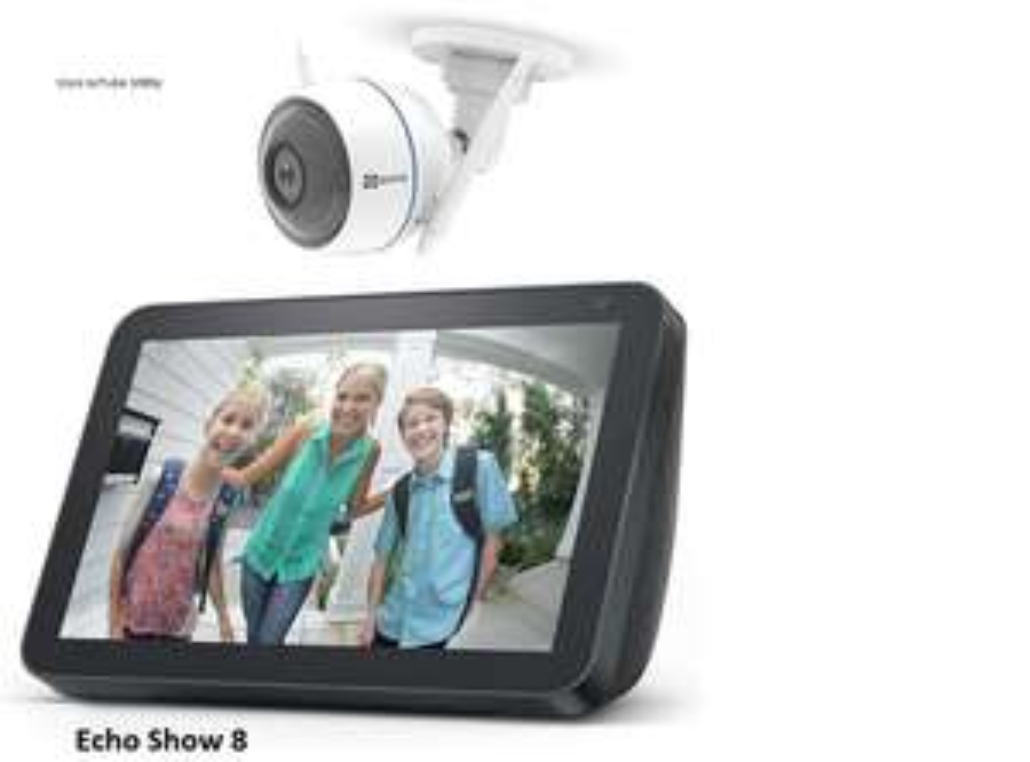 Amazon Prime Echo Show 8 (Acht) + EZVIZ ezTube 1080p, Smart Speaker, Display + Überwachungskamera