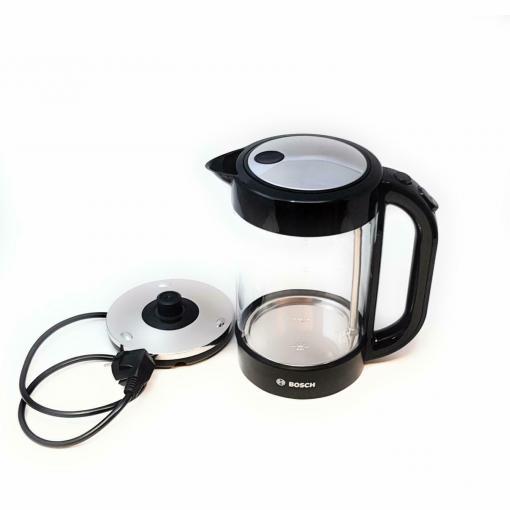 Bosch TWK70B03 Glas Wasserkocher, max. 2400 W, 1.7 l, Abschaltautomatik, Glas/schwarz