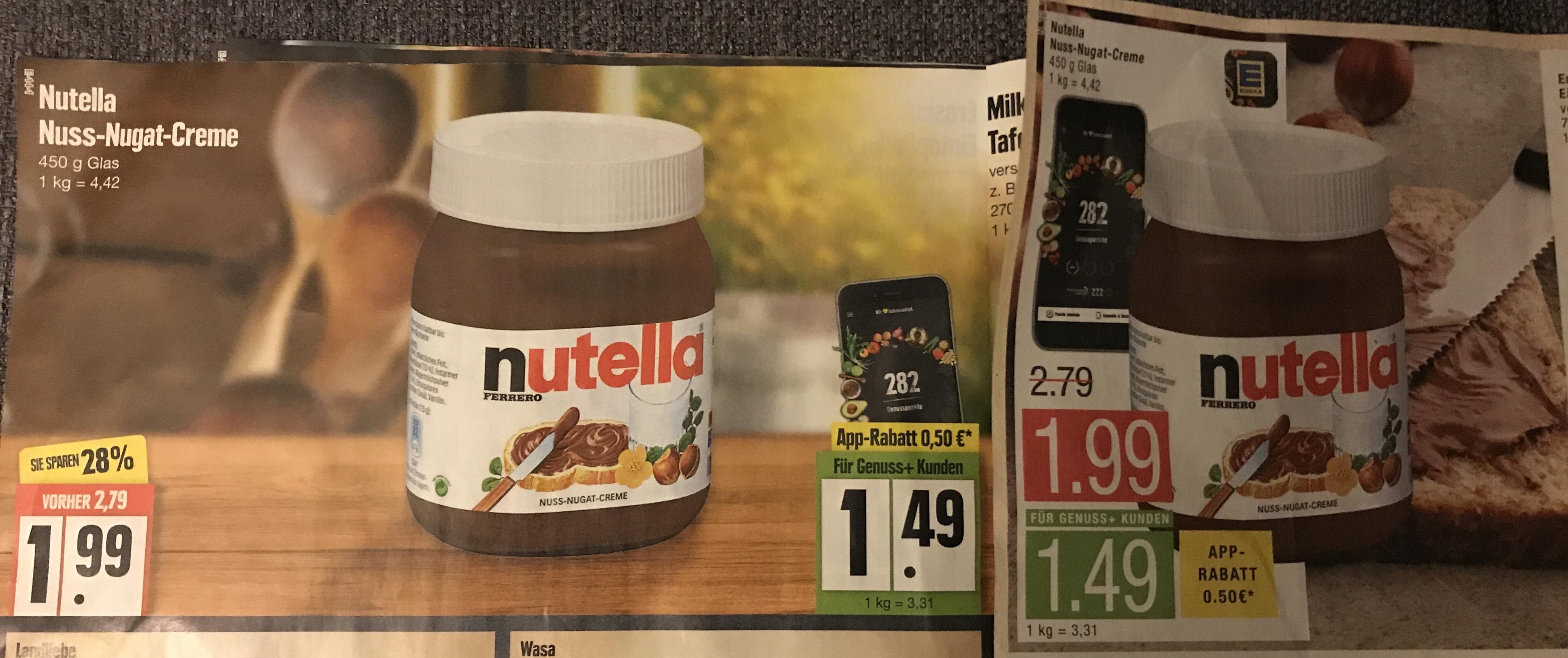 [Edeka/Marktkauf Hamburg] Nutella 450g Glas für 1,49€ (3,31€/kg) und ab 5€ gratis Leberwurst