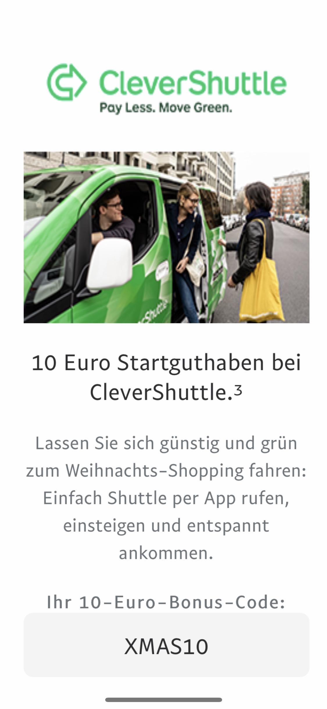 10€ Guthaben für CleverShuttle nur über die App für Neukunden