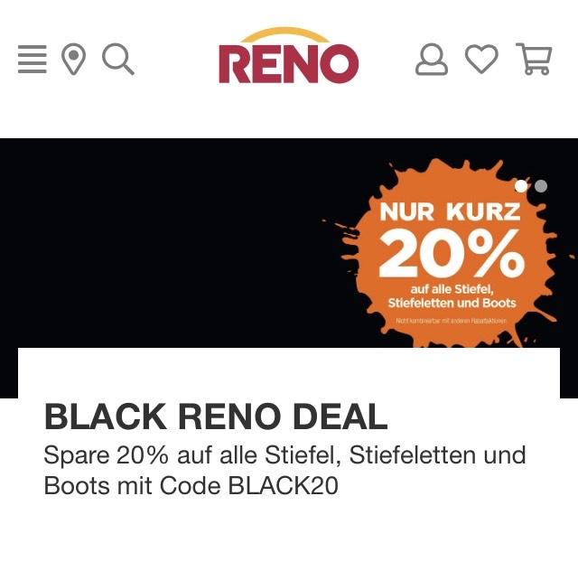 Reno 20% auf Stiefel, Stiefeletten und Boots