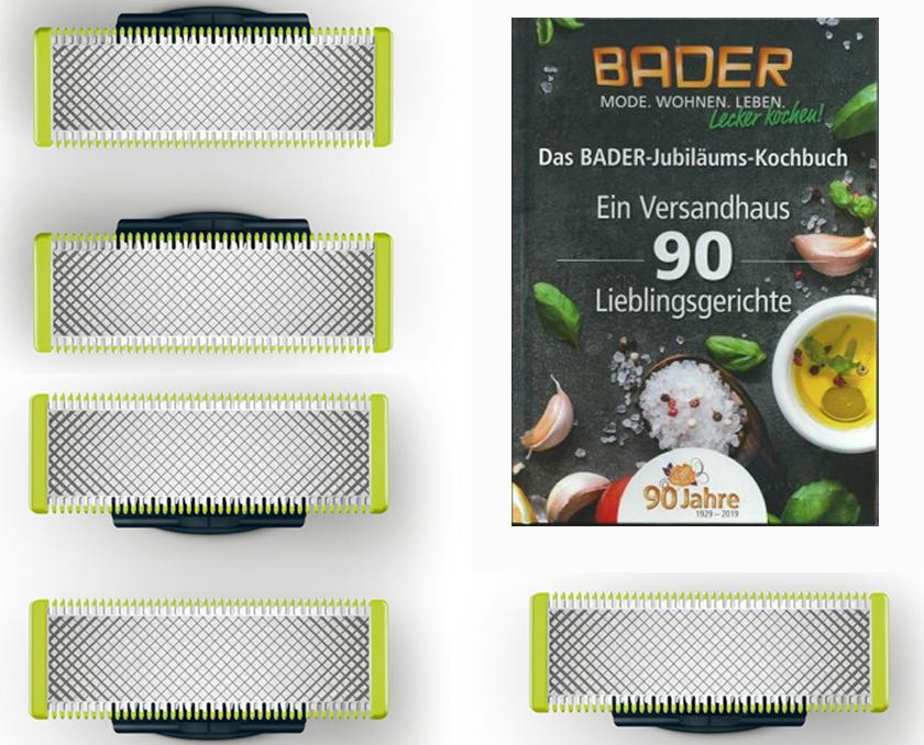 [Paydirekt] Bader / 4 oder 5 Ersatzklingen für Philips OneBlade +Kochbuch für 19,88€ bzw. 30,97€