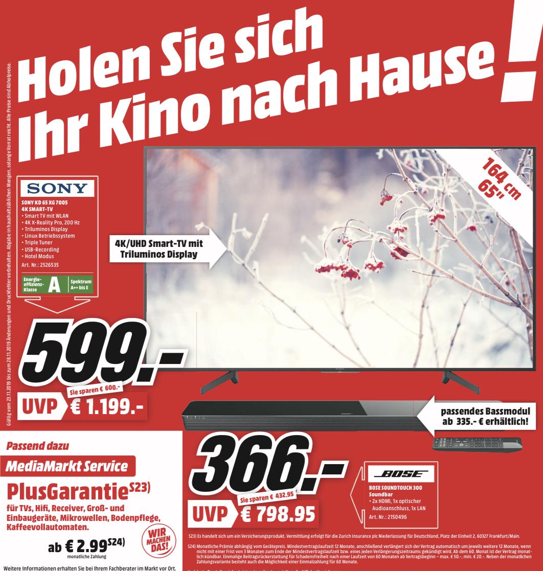 "[lokal: MM Frankfurt-Borsigallee] Sony KD-65XG7005 - 65"" 4K Smart TV (IPS, Direct LED, 60 Hz, 8bit+FRC) für 599€ | Bose SoundTouch 300 =366€"