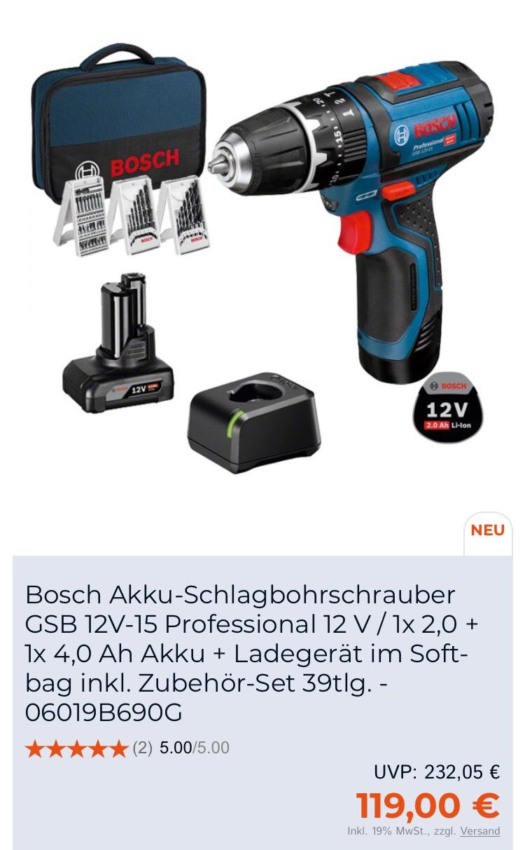 Bosch GSB 12V-15 Professional 1 x 4,0 Ah + 1 x 2,0 Ah. Evtl 10€ Neukunden Gutschein möglich