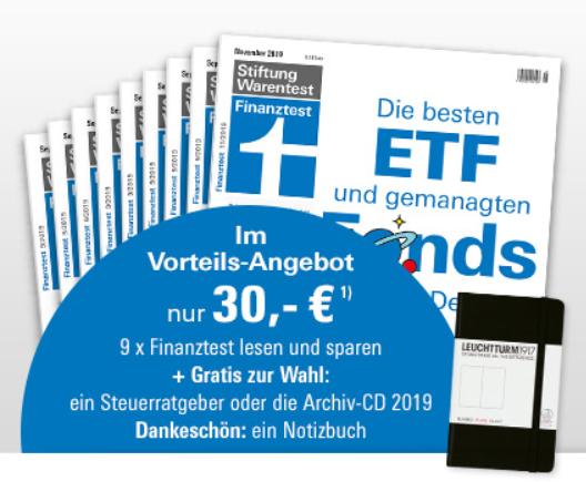 9 x Finanztest + Steuerratgeber oder Archiv-CD 2019 + Notizbuch für 30 €