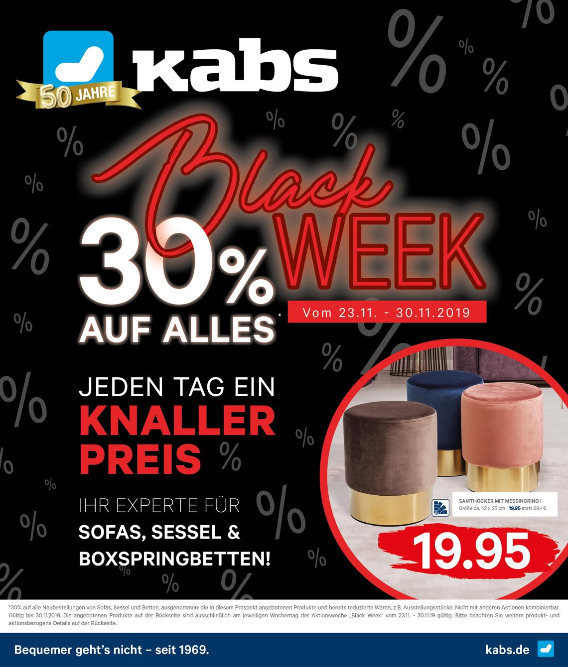Kabs PolsterWelt Blackweek 30% auf Alles!